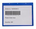 Hängande ficka A4L, 325x235+15 mm i 0,30 hård blå + 0,16 glaskl.