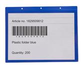 Självhäftande ficka m tejp 325x235+15 mm i 0,30 hård blå + 0,16 glaskl