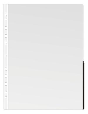 Ficka signal A4 PP transp. 0,17 bred svart signalkant