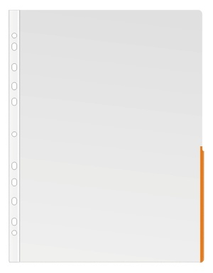 Ficka signal A4 PP transp. 0,17 bred orange signalkant