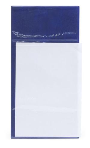 Pallskylt A4 blå med glasklar ficka
