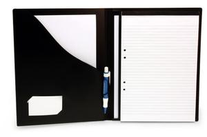Blockomslag A4 konferens med pennhållare PP svart, för limmat + spiralblock (exkl. block)