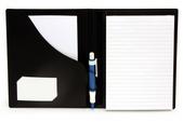 Blockomslag A5 konferens med pennhållare PP svart, för limmat + spiralblock (exkl. block)