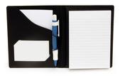 Blockomslag A6 konferens med pennhållare PP svart, för limmat + spiralblock (exkl. block)
