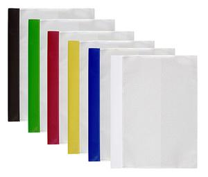 Offertmapp A4, dubbel framsida & rak ficka sid 3 i transp. präglad pp, vit rygg. Mont. mek