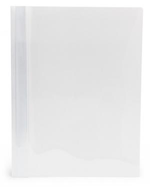 Offertmapp A4 PP enkel framsida, vit rygg+baksida, med skrivfält på rygg. Mont. mek