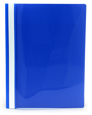 Offertmapp A4 PP enkel framsida, blå rygg+baksida, med skrivfält på rygg. Mont. mek