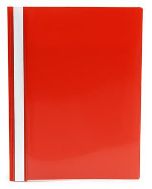 Offertmapp A4 PP enkel framsida, röd rygg+baksida, med skrivfält på rygg. Mont. mek