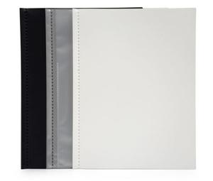 Displaymapp A4 0,35 svart pp med 10 st insvetsade fickor(öppen kort+1/3 långsida)