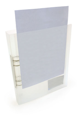 Pärm A4 PP 0,7 transp cristaline 40mm rygg 30 mm triomek, ficka (framsida) + snitt (baksida)
