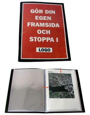Demopärm A4 i 0,8 svart pp, ficka framsida och 10 st insvetsade fickor öppna kort + 1/3 långsida