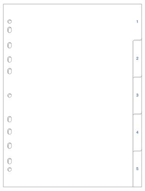 [Utgående] Register A4 PP vita 1-5 blå pag.
