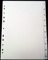 Register A4 PP vita 1-10 svart pag. Levereras individuellt packade i påse inkl. försättsblad i papp